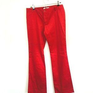 Zara Red Flare Leg Dress Pants Long Inseam 10